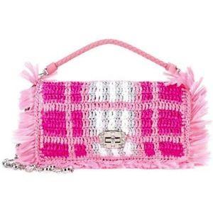 NWT MIU MIU Raffia Plaid Mini Crystal Pink Bag